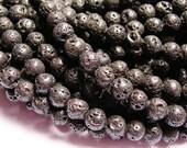 Lava volcanic gem 6mm round - AA quality- 1 full strand - 66 beads - RFG821