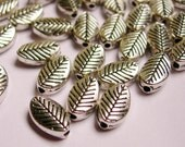Silver color  beads hypoallergenic- 80 pcs -  engraved leaf silver beads- ZAS 46