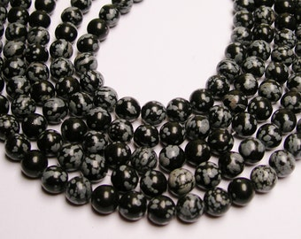 Snowflake Obsidian 8 mm - 48 beads per strand - full strand - A quality - RFG759