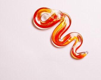 Murano lampkork glass snake,dark orange with gold sparkle  focal pendant,  1 pcs