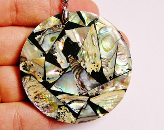 Abalone mosaic pendant focal cabochon 1 pcs bail included,SP -19