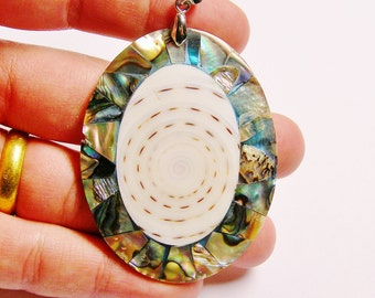 Abalone and shiva Shell pendant focal cabochon 1 pcs bail included, SP-26