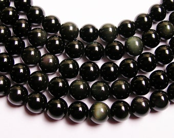 Obsidian rainbow  8 mm round beads 1 full strand  48 beads  AA quality - RFG719
