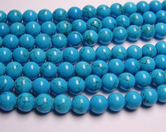 Howlite turquoise - 8mm round beads -1 full strand - 52 beads - quality  AA
