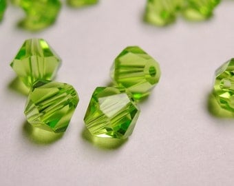 Crystal 6mm Bicone 60 pcs AA quality --sparkle peridot green
