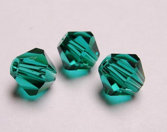 Crystal 6mm Bicone 60 pcs AA quality --sparkle dark emerald