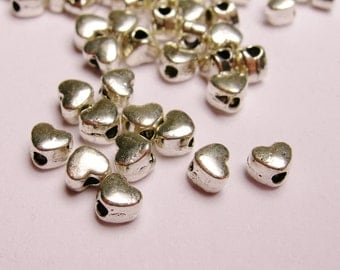 Silver color  beads hypoallergenic- 400 pcs -  silver small heart beads 4mm- ZAS - 18