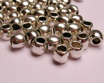 Silver color beads hypoallergenic- 50 pcs -  silver large hole beads 5mm x 4mm - ZAS23