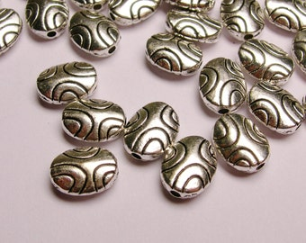 Silver color  beads hypoallergenic- 40 pcs - round engraved oval silver beads - ZAS 27