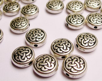 Celtic beads Silver color hypoallergenic- 40 pcs - round celtic engraved silver beads - ZAS33