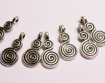 Antique Silver color  beads hypoallergenic- 50 pcs - nice engraved spiral silver charms beads - ZAS39