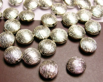 Silver color  beads hypoallergenic- 20 pcs -  silver textured round puff beads - ZAS34