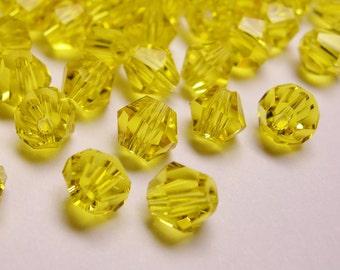 Crystal 4mm Bicone 50 pcs AA quality --sparkle vivid yellow