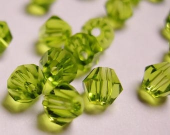Crystal 4mm Bicone 100 pcs AA quality --sparkle green chlorophyll