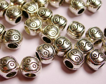 20 Silver color  beads hypoallergenic- 20 pcs -  silver ying yang large hole beads - ZAS49