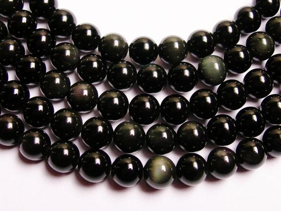 Obsidian rainbow  8 mm round beads 1 full strand  48 beads  AA quality - RFG719