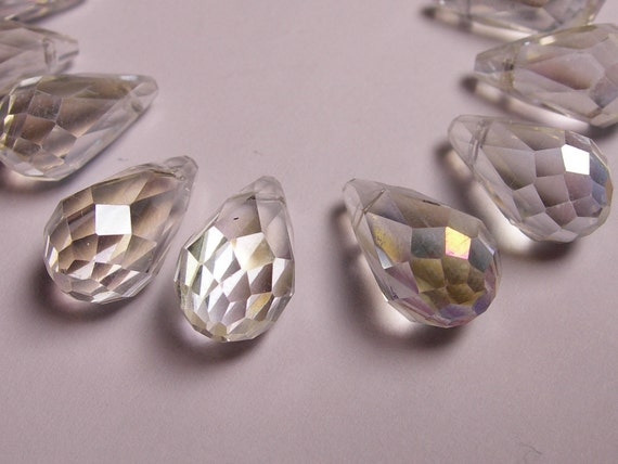 Faceted teardrop crystal briolette beads 12 pcs 15mm by 8mm side drill