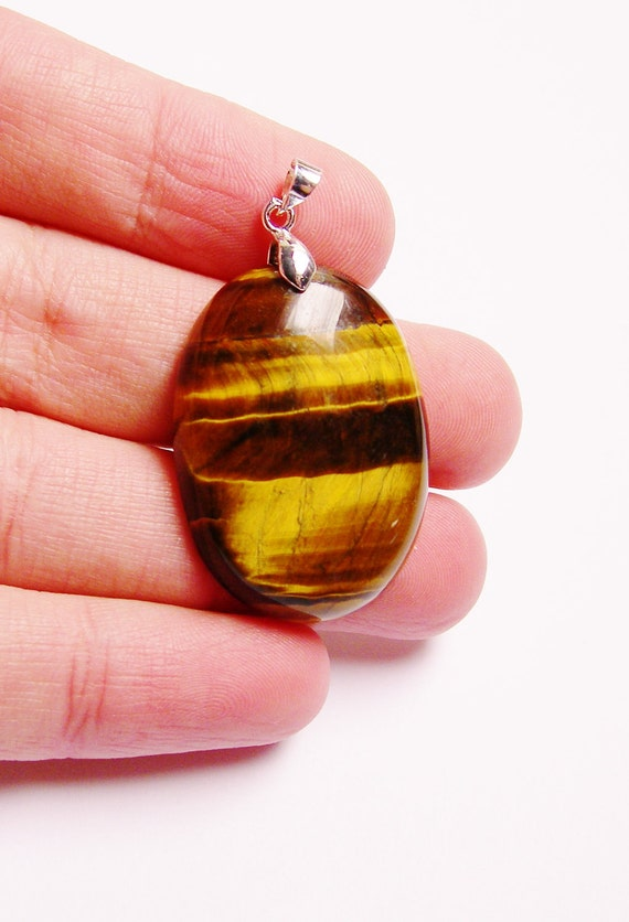 Genuine tiger eyes focal cabonchon pendant drill on top bail included 1 pcs genuine natural gemstone