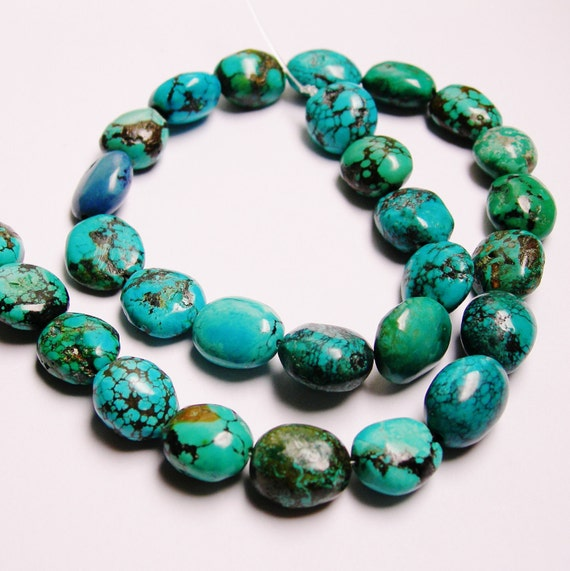 Turquoise gemstone 29pcs rounded beads nugget full strand  57.56grams Genuine tibet turquoise