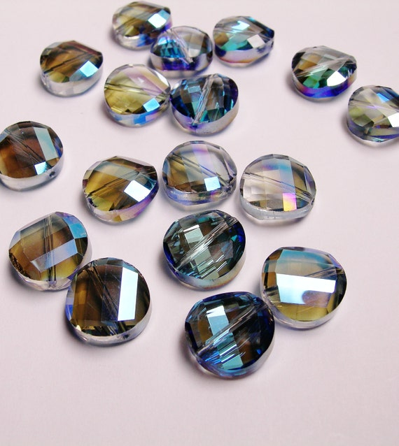 Crystal faceted round coin beads 10 pcs 13mm AA quality sparkle dark agua blue