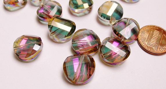 Crystal faceted round coin beads 10 pcs 13mm AA quality sparkle watermelon tourmaline color