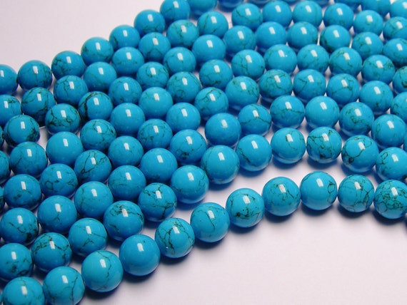 Howlite turquoise - 10mm round beads -1 full strand - 42 beads - quality  AA