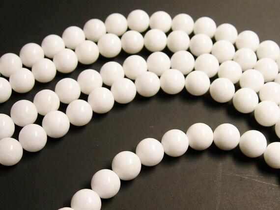White Jade 10mm round beads - 1 full strand - 38 beads per strand - A quality - RFG1170
