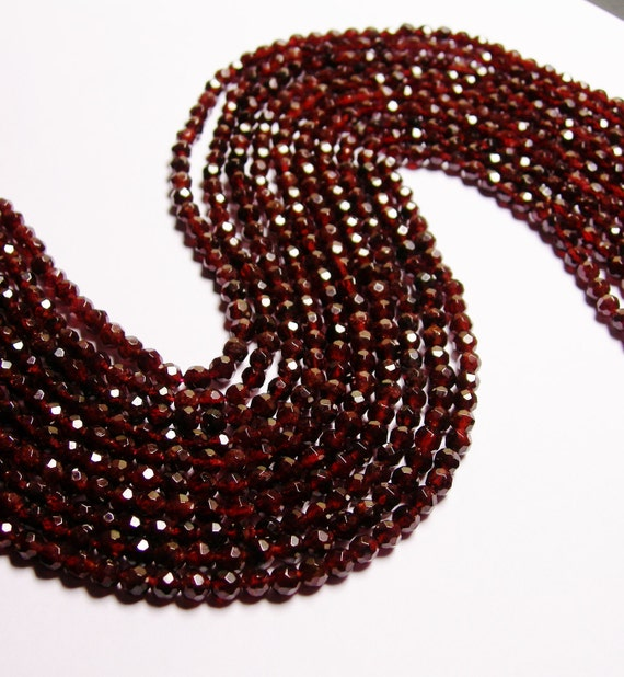 Red Garnet faceted 4mm round 92 beads per strand AA quality