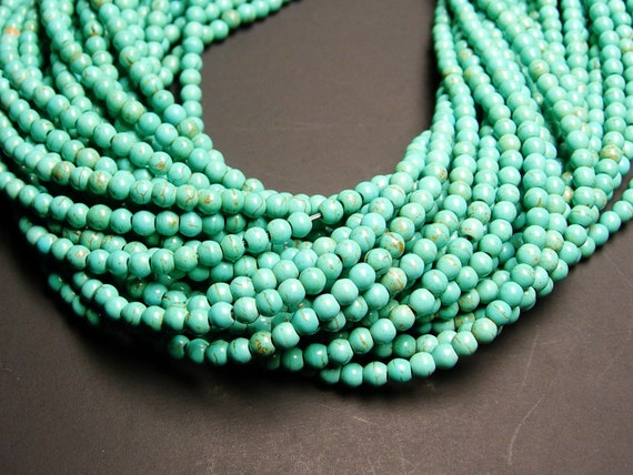 Howlite turquoise - 4mm round beads -3 full strand - 309 beads - A Quality