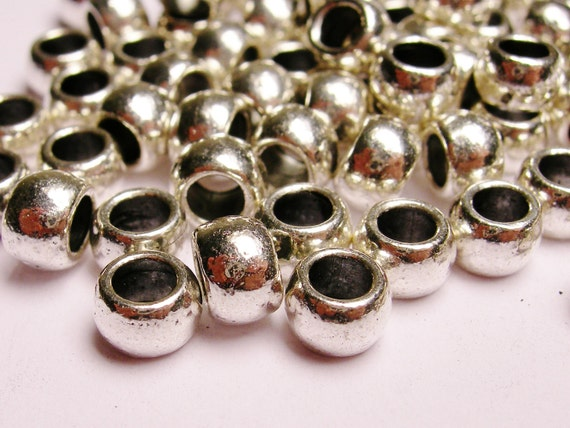 Silver color  beads hypoallergenic- 120 pcs -  silver large hole beads 6mm by 4mm
