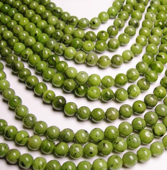 Jade nephrite BC - 8mm round beads -1 full strand - 50 beads -A quality
