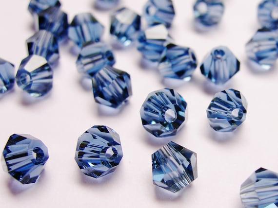 Crystal 4mm Bicone 100 pcs AA quality --dark smokey blue sapphire