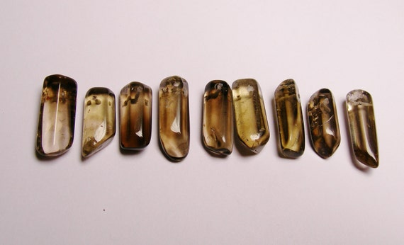 Smoky Quartz crystal points top drilled 9 pcs mix size