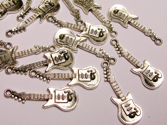 Guitar Silver color charms hypoallergenic- 20 pcs -  small guitar charms - ZAS73