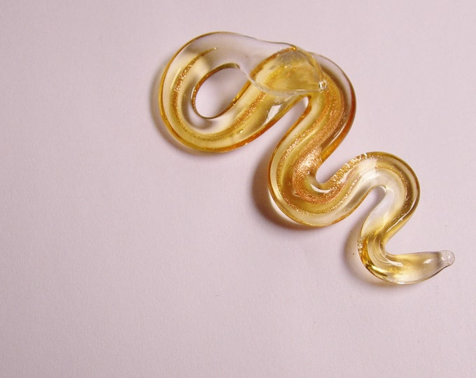Murano lampwork glass snake, golden with gold sparkle  focal pendant,  1 pcs