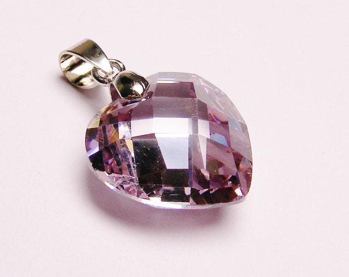 Lavender purple Crystal heart pendant focal piece faceted tear drop 1 pcs