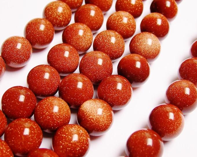 Goldstone - 12mm round - full strand - A quality - 33 beads per strand - RFG1156