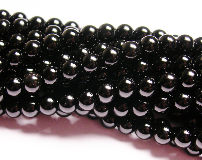Black Onyx - 6mm round beads -1 full strand - 65 beads - AA quality - RFG806