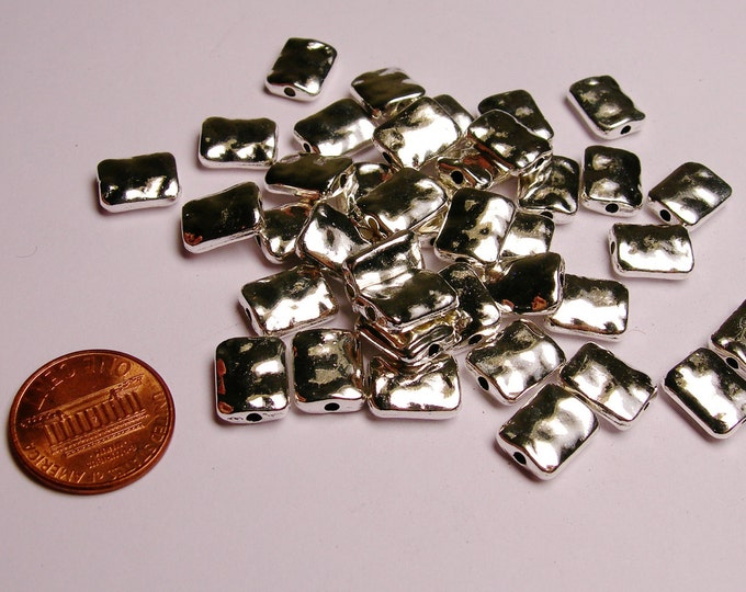 Silver color beads - hypoallergenic- 20 pcs -  Hammered silver rectangle  beads - ZAS 20