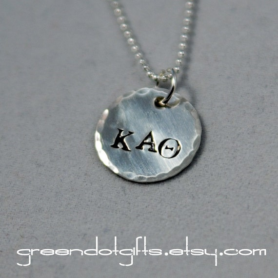 Sorority letter charm necklace with hammered edge in sterling for Sorority necklaces letters