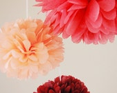 Set of 3 party poms with ribbon, mixed sizes, choose your colors