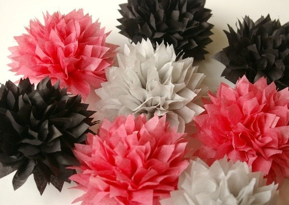 Set of 12 petite poms, 4.5 inch mini poms, ready to open.  choose our colors