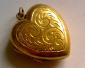 Gold Puffy Heart Locket... Etched Gold Filled