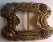 Brass Filigree Rhinestone Buckle