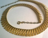 Gold  Modernist Collar Necklace... 1960s Mid Century