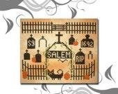 PDF E pattern emailed Primitive Halloween Salem Cross Stitch Pattern Sampler 8 *