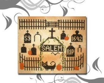 PDF E pattern emailed Primitive Halloween Salem Cross Stitch Pattern Sampler 8 *