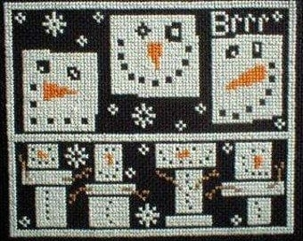 PDF E pattern emailed Primitive Snowman Christmas Cross Stitch Pattern Sampler 54