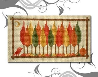 PDF E pattern emailed Primitive Autumn Fall Cross Stitch Pattern Sampler 49