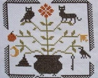 PDF E pattern emailed Primitive Autumn Motif Cross Stitch Pattern Sampler 103